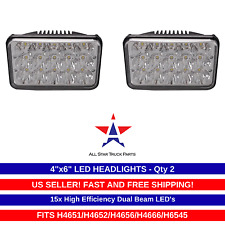 "4x6"" inch 15 LED Headlights CREE HID Replace H4656/4651 High/Low Beam 45W- Pair"