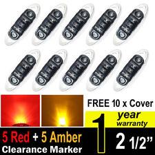 5 pcs Mini Side Led Marker (QR Model) Smoked Lens (5 Amber+5 Red) Light Trailer