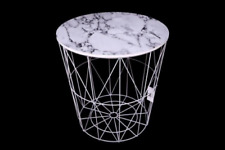 Round Geometric Modern White Metal & Marble Effect Wood Coffee End Side Table
