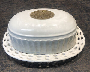 THL Farmhouse French Style Off-White Butter Dish Shabby chic two-piece