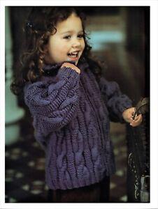Child's cable jacket + hat Aran knitting pattern, zipper cardigan,