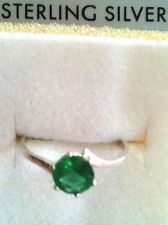SIZE 7.5 GREEN TOPAZ RING ROUND SOLITAIRE -1 CARAT 925 STERLING-SET IN TEXAS