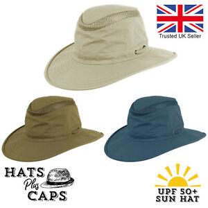 UPF 50+ Aussie Style Sun Hat Fedora Bush Safari Summer Wide Brim Air-Flow Hat UV