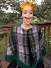 LOCHCARRON Made in SCOTLAND Plaid Bagpipes Womens Cape Shawl Mohair Wool Sz OS