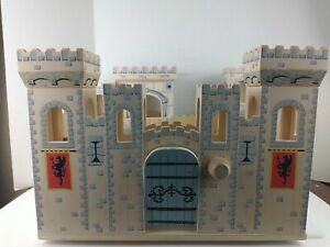 Melissa & Doug Folding Medieval Wooden Castle Hinged large Pretend Play Opens