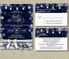 100 Personalized Rustic Winter Wedding Invitations snowflake with envelopes