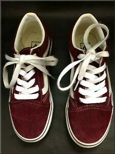 """Vans """"Off the Wall"""" Children's Burgundy Red Lace-up Trainers, Size UK 2, US 2.5"""