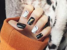 24 Pcs/set Stiletto False Nails Blooming Black Grey White Short Classical Design