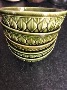 Holkham Pottery Small Bowls Dessert/ Cereal Dark Green X5