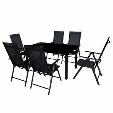 vidaXL Conjunto de Muebles de Jardín de Aluminio Textileno Negro Mesa 6 Sillas