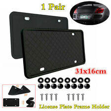 1Pair 31x16cm Black Soft Silicone License Plate Frame Holder For American Cars