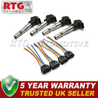 4x Ignition Coil Packs + Wiring Harness Fits Audi Seat Skoda VW  1.8 T 2.0 2.7
