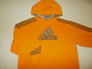 ADIDAS ORANGE HOODED SWEATSHIRT MENS LARGE EXCELLENT CONDITION