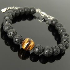 Men's Women Bracelet Lava Rock Tiger Eye 925 Sterling Silver Clasp Link 1388