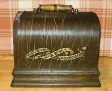 Early Edison Gem Phonograph Lid & Handle With Banner Decal ~Scarce~