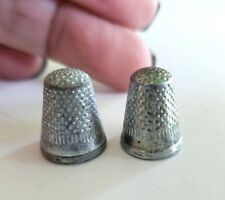 """2 Small Vintage Silver Tone Thimbles Lot 5/8"""" Tall Monopoly Game Piece Movers"""