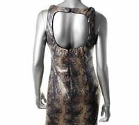 BETSY & ADAM Womens $209 GRAY & GOLD PYTHON PRINT SEQUINED COCKTAIL DRESS 6 NWT
