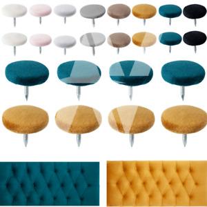 13 mm Plush Velvet Fabric 30L/18 mm Buttons Nail Back Upholstery Sofa Headboard