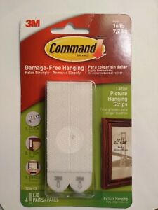3M Command Large Picture Hanging Strips 4 Pairs Hold 16LB Strong, White 17206-ES