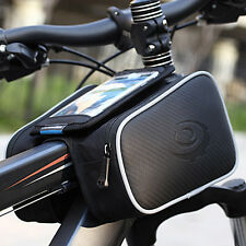 Bike Cycling Bicycle Front Top Tube Frame Pannier Double Bag Pouch for Cellphone