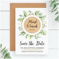 PERSONALISED Vintage Wedding Save The Date Cards Magnets Envelopes Eucalyptus