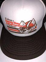 """NWOT Vtg CLEVELAND BROWNS Trucker Cap SNAPBACK HAT """"Dawg Day"""" (Made Cleveland)"""