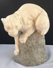 Alabaster Puma/Mountain Lion Figure, Signed by J. L. Boulton, American sculpture