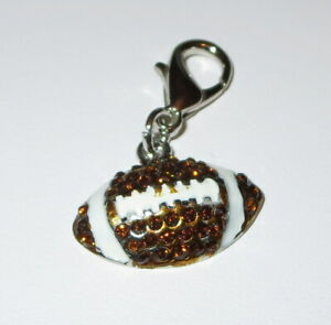 Football Charm New Lobster Claw Clip On Brown White Sports Theme