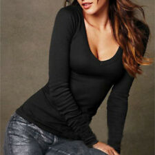 Fashion Womens Long Sleeve Shirt Ladies Plunge V Neck Tops Blouse T-shirt Black 8