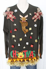 Ugly Christmas Sweater Tacky Moose Mens SIZE XL LED Lights Up! 15D190