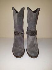 CO-OP Barneys NY Gray Suede Studded Strap High Heel Ankle Boots Sz. Eu 37.5/US 7