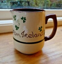 Vintage Carrig Ware jug from Ireland -shamrock pattern-lucky!water for whiskey?