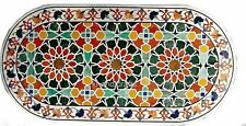 Oval Marble Sofa Table Top Inlay Office Table with Pietra Dura Art 24 x 48 Inch