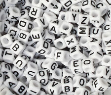 100 Letter A-Z  Acrylic Cube Alphabet Bead 6mm ONLY 99P