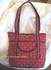 Longaberger Blushing Hearts Quilted Deep Red Black Faux Leather Zippered Bag New