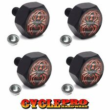 4 Black Hex Billet Alum Motorcycle License Plate Frame Tag Bolts Widow Spider Rd(Fits: Wolf)