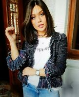 Zara Women M Fantasy Textured Fringe Jacket Blazer Black Multi Color Tweed Blog