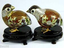 Vintage Cloisonne Enamel Bird Pair of Quail Partridge Statue/Figurine with Stand