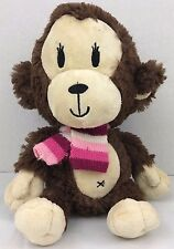 Childrens Place Stuffed Girl Monkey Brown Tan Plush Pink Scarf Bow Toy Animal 11