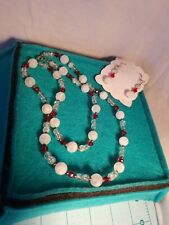 White, Red & Clear Beads - New Handmade Necklace And Earrings Set In Frosted