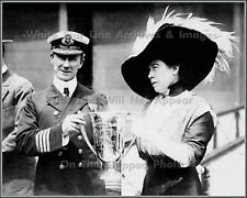 Photo: Captain Rostron Receives Cup From Molly Brown - Carpathia, RMS Titanic