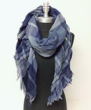 Men Women Mid weight Plaid Square Scarf w/ lurex Blue Cozy Wrap shawl Pashmina
