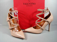 Valentino 38/8 Beige Grommet Studded Love Latch Criss Cross Point Toe Pumps New