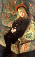 Oil painting camille wauters - portrait of a girl with red hat sitting on sofa