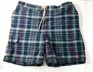 NWOT Vtg Polo Ralph Lauren Mens Shorts L Board Swim Swimsuit Trunks Purple Plaid