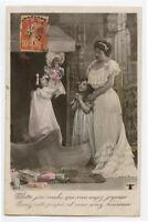 c 1910 Children Child LITTLE GIRL w/ DOLL French photo postcard