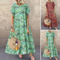 Women Summer Short Sleeve Long Maxi Dress Floral Print Round Neck Sundress Plus