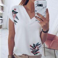 V Neck Short Sleeve Elegant T-Shirt Womens Fashion Floral New Loose Blouse