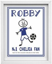 STICK PEOPLE PICTURE | Personalised Name & Football Club  | Chelsea | (NP212)