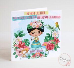 FRIDA KAHLO Birthday Card - Be More Like Frida - Artist Floral